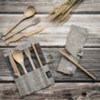 Kézzel készített bambusz evőeszköz készlet - Málnapiros