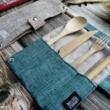 Kézzel készített bambusz evőeszköz készlet - Tengerkék