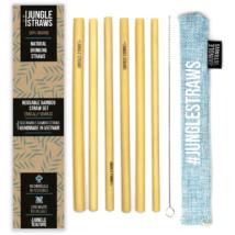 Bambusz szívószál készlet (6db) tasakban - Aqua