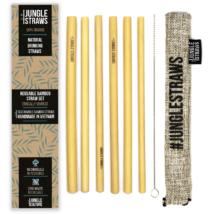 Bambusz szívószál készlet (6db) tasakban - Hamu