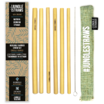 Bambusz szívószál készlet (6db) tasakban - Zsálya
