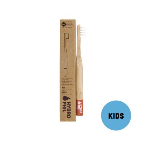 Hydrophil Gyermek bambusz fogkefe puha sörtével - piros