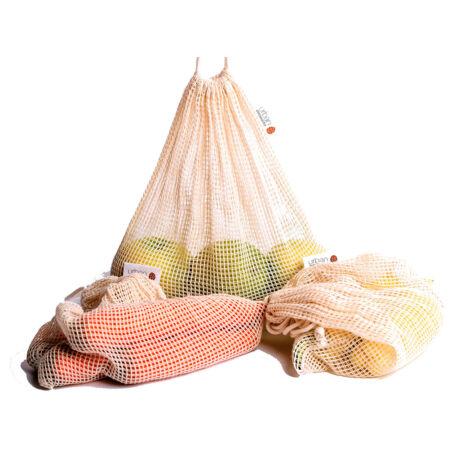 Hálós pamut ökozsák bevásárláshoz