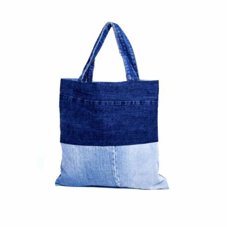 Újrahasznosított farmerből készült bevásárló táska