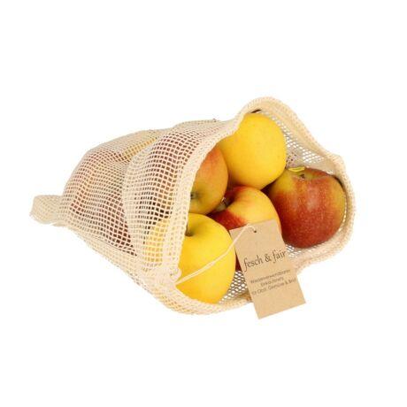 Hálós gyümölcstartó szövetzsák biopamutból - 40 x 30 cm