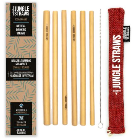 Bambusz szívószál készlet - Málna